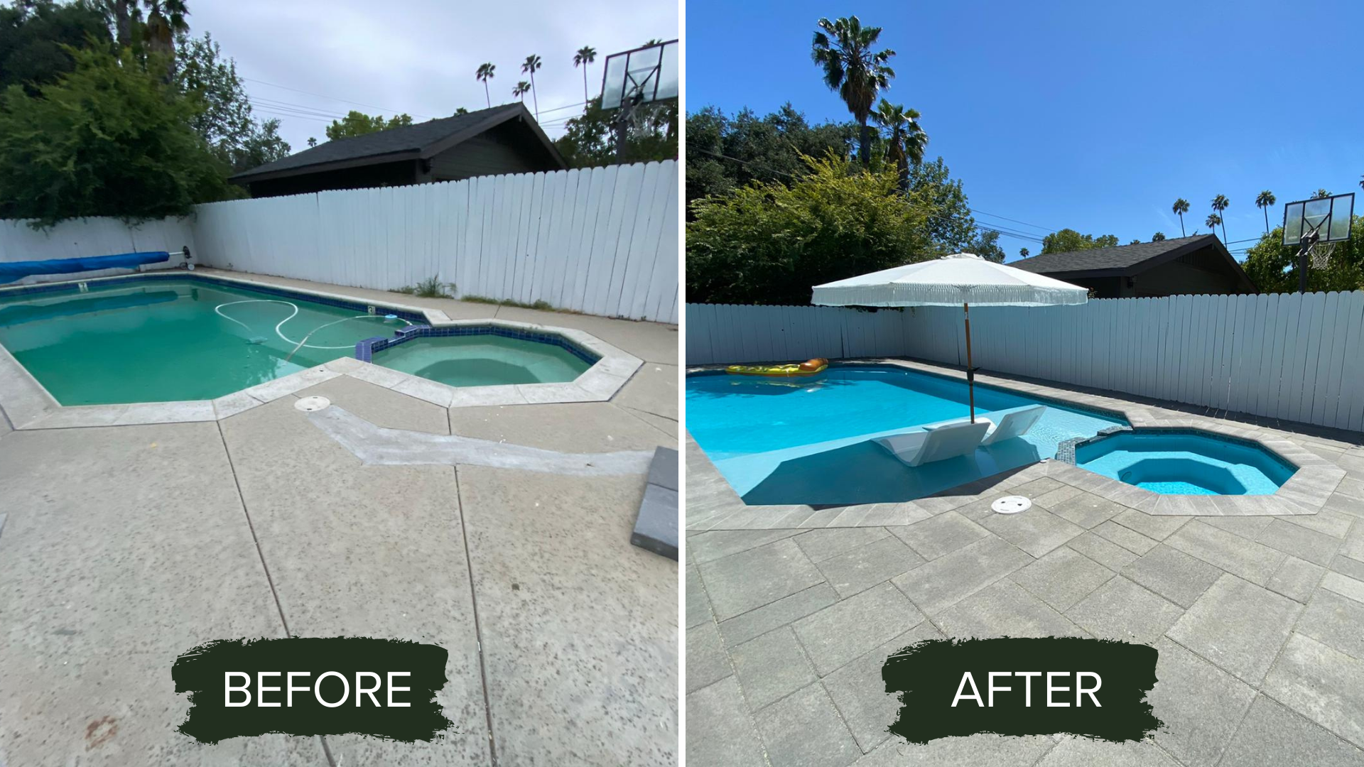 BEFORE AND AFTER POOL REMODELING