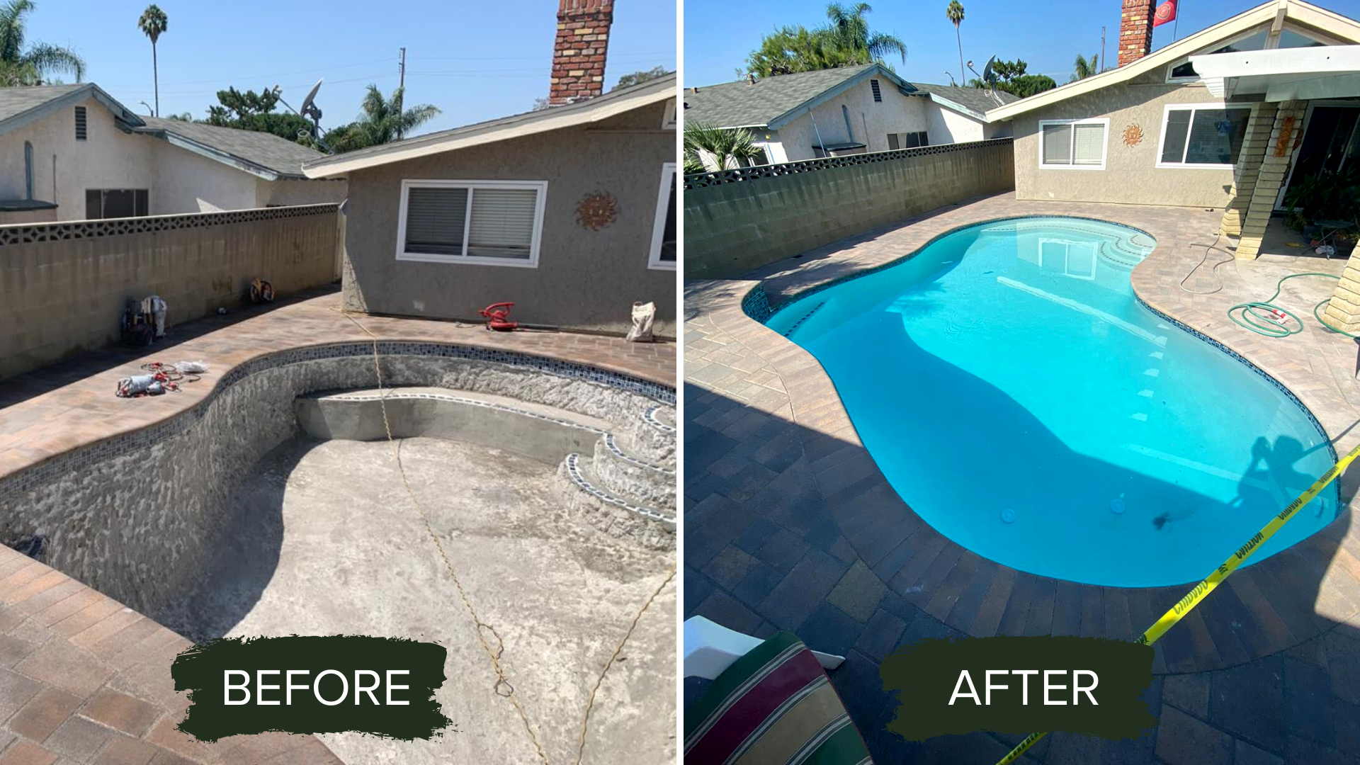 BEFORE AND AFTER POOL RENOVATION