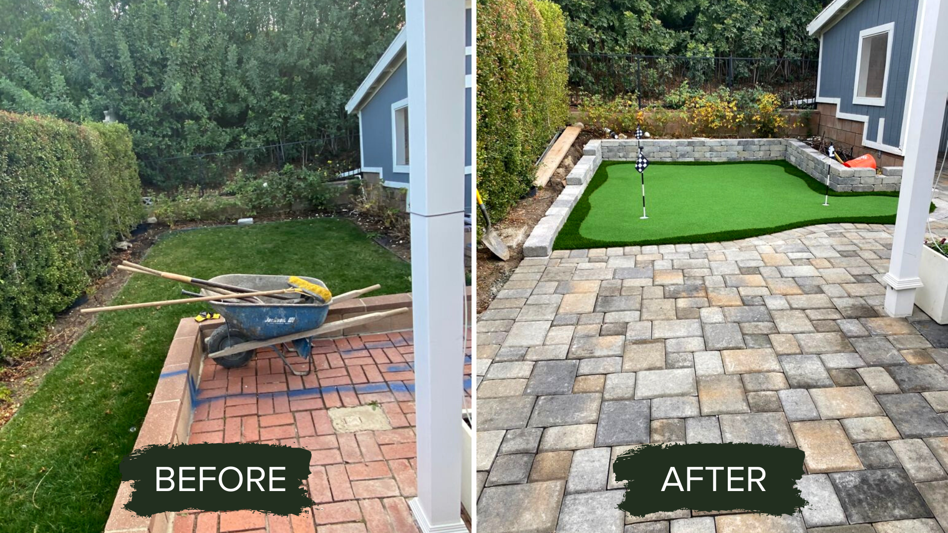 BEFORE AND AFTER BACKYARD PUTTING GREEN